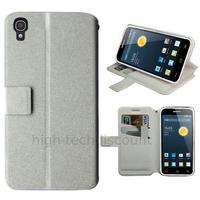 Housse etui coque pochette portefeuille pour Alcatel One Touch Idol 3 (4.7) + film ecran - BLANC