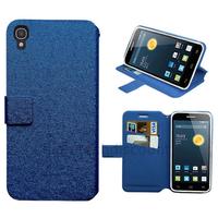 Housse etui coque pochette portefeuille pour Alcatel One Touch Idol 3 (4.7) + film ecran - BLEU