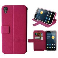 Housse etui coque pochette portefeuille pour Alcatel One Touch Idol 3 (4.7) + film ecran - ROSE