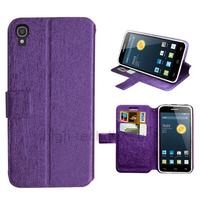Housse etui coque pochette portefeuille pour Alcatel One Touch Idol 3 (4.7) + film ecran - MAUVE
