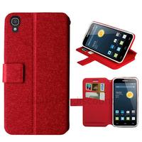 Housse etui coque pochette portefeuille pour Alcatel One Touch Idol 3 (4.7) + film ecran - ROUGE