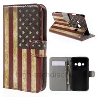 Housse etui coque pochette portefeuille PU cuir pour Samsung G388F Galaxy Xcover 3 + film ecran - USA