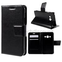 Housse etui coque pochette portefeuille PU cuir pour Samsung G388F Galaxy Xcover 3 + film ecran - NOIR