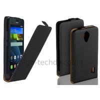 Housse etui coque pochette PU cuir fine pour Huawei Ascend Y635 + film ecran - NOIR