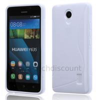 Housse etui coque pochette silicone gel fine pour Huawei Ascend Y635 + film ecran - BLANC