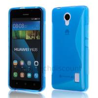 Housse etui coque pochette silicone gel fine pour Huawei Ascend Y635 + film ecran - BLEU
