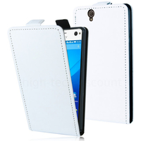 Housse etui coque pochette PU cuir fine pour Sony Xperia C4 / C4 Dual + film ecran - BLANC