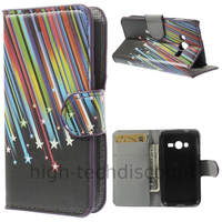Housse etui coque portefeuille PU cuir pour Samsung G318H Galaxy Trend 2 Lite + film ecran - ETOILES