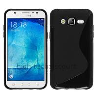 Housse etui coque pochette silicone gel fine pour Samsung Galaxy J7 + film ecran - NOIR