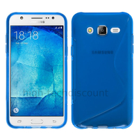 Housse etui coque pochette silicone gel fine pour Samsung Galaxy J7 + film ecran - BLEU