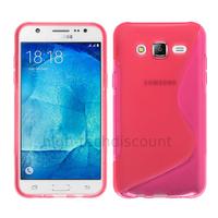 Housse etui coque pochette silicone gel fine pour Samsung Galaxy J7 + film ecran - ROSE
