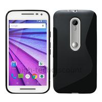 Housse etui coque pochette silicone gel fine pour Motorola Moto G 3eme generation + film ecran - NOIR