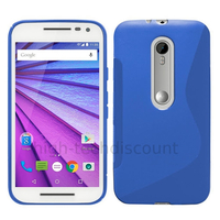 Housse etui coque pochette silicone gel fine pour Motorola Moto G 3eme generation + film ecran - BLEU
