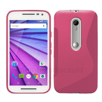 Housse etui coque pochette silicone gel fine pour Motorola Moto G 3eme generation + film ecran - ROSE
