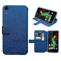 Housse etui coque pochette portefeuille pour Wiko Rainbow Lite 4G + film ecran - BLEU