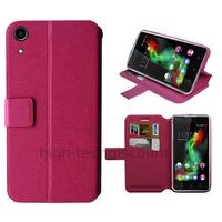 Housse etui coque pochette portefeuille pour Wiko Rainbow Up 4G + film ecran - ROSE