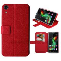 Housse etui coque pochette portefeuille pour Wiko Rainbow Up 4G + film ecran - ROUGE