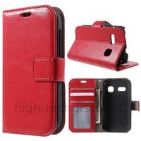 Housse etui coque portefeuille PU cuir pour Alcatel One Touch Pop C3 4033D + film ecran - ROUGE
