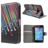 Housse etui coque portefeuille PU cuir pour Samsung Galaxy J1 + film ecran - ETOILES