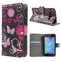 Housse etui coque portefeuille PU cuir pour Samsung Galaxy J1 + film ecran - FLEURS N