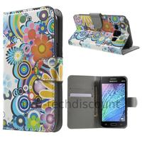 Housse etui coque portefeuille PU cuir pour Samsung Galaxy J1 + film ecran - FLEURS C