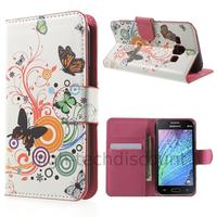 Housse etui coque portefeuille PU cuir pour Samsung Galaxy J1 + film ecran - PAPILLONS
