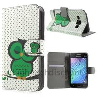 Housse etui coque portefeuille PU cuir pour Samsung Galaxy J1 + film ecran - HIBOU