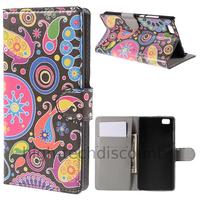 Housse etui coque portefeuille PU cuir pour Huawei Ascend P8 Lite + film ecran - PAISLEY