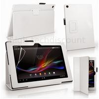 Housse etui coque pochette PU cuir pour Sony Xperia Z4 Tablette + film ecran - BLANC
