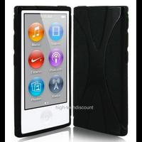 Housse etui coque pochette silicone gel fine pour Apple iPod Nano 8eme generation + film ecran - NOIR