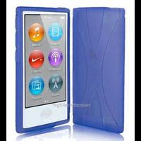 Housse etui coque pochette silicone gel fine pour Apple iPod Nano 8eme generation + film ecran - BLEU