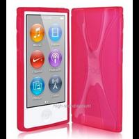 Housse etui coque pochette silicone gel fine pour Apple iPod Nano 8eme generation + film ecran - ROSE