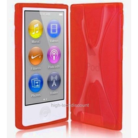 Housse etui coque pochette silicone gel fine pour Apple iPod Nano 8eme generation + film ecran - ROUGE