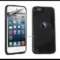 Housse etui coque pochette silicone gel fine pour Apple iPod Touch 6eme generation + film ecran - NOIR