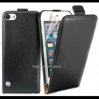 Housse etui coque pochette PU cuir fine pour Apple iPod Touch 6eme generation + film ecran - NOIR