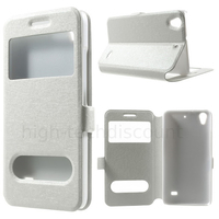 Housse etui coque portefeuille view case pour Huawei Ascend G620S + film ecran - BLANC
