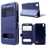 Housse etui coque portefeuille view case pour Huawei Ascend G620S + film ecran - BLEU