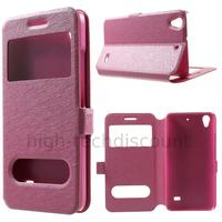 Housse etui coque portefeuille view case pour Huawei Ascend G620S + film ecran - ROSE