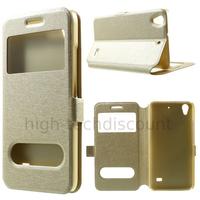 Housse etui coque portefeuille view case pour Huawei Ascend G620S + film ecran - CHAMPAGNE