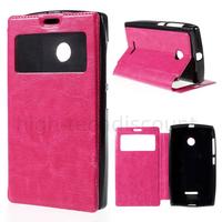 Housse etui coque pochette portefeuille view case pour Microsoft Lumia 435 + film ecran - ROSE