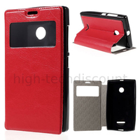 Housse etui coque pochette portefeuille view case pour Microsoft Lumia 435 + film ecran - ROUGE