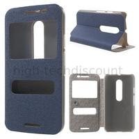 Housse etui coque portefeuille view case pour Motorola Moto G 3eme generation + film ecran - BLEU