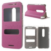 Housse etui coque portefeuille view case pour Motorola Moto G 3eme generation + film ecran - ROSE