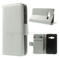 Housse etui coque portefeuille PU cuir pour Samsung G318H Galaxy Trend 2 Lite + film ecran - BLANC
