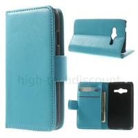 Housse etui coque portefeuille PU cuir pour Samsung G318H Galaxy Trend 2 Lite + film ecran - BLEU