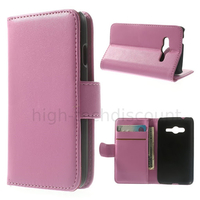 Housse etui coque portefeuille PU cuir pour Samsung G318H Galaxy Trend 2 Lite + film ecran - ROSE