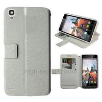 Housse etui coque pochette portefeuille pour Archos 50c Helium 4G + film ecran - BLANC