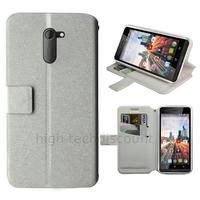 Housse etui coque pochette portefeuille pour Archos 50c Neon + film ecran - BLANC