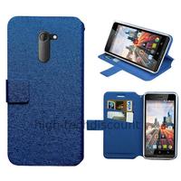 Housse etui coque pochette portefeuille pour Archos 50c Neon + film ecran - BLEU