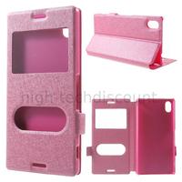 Housse etui coque portefeuille view case pour Sony Xperia M4 Aqua Dual + film ecran - ROSE
